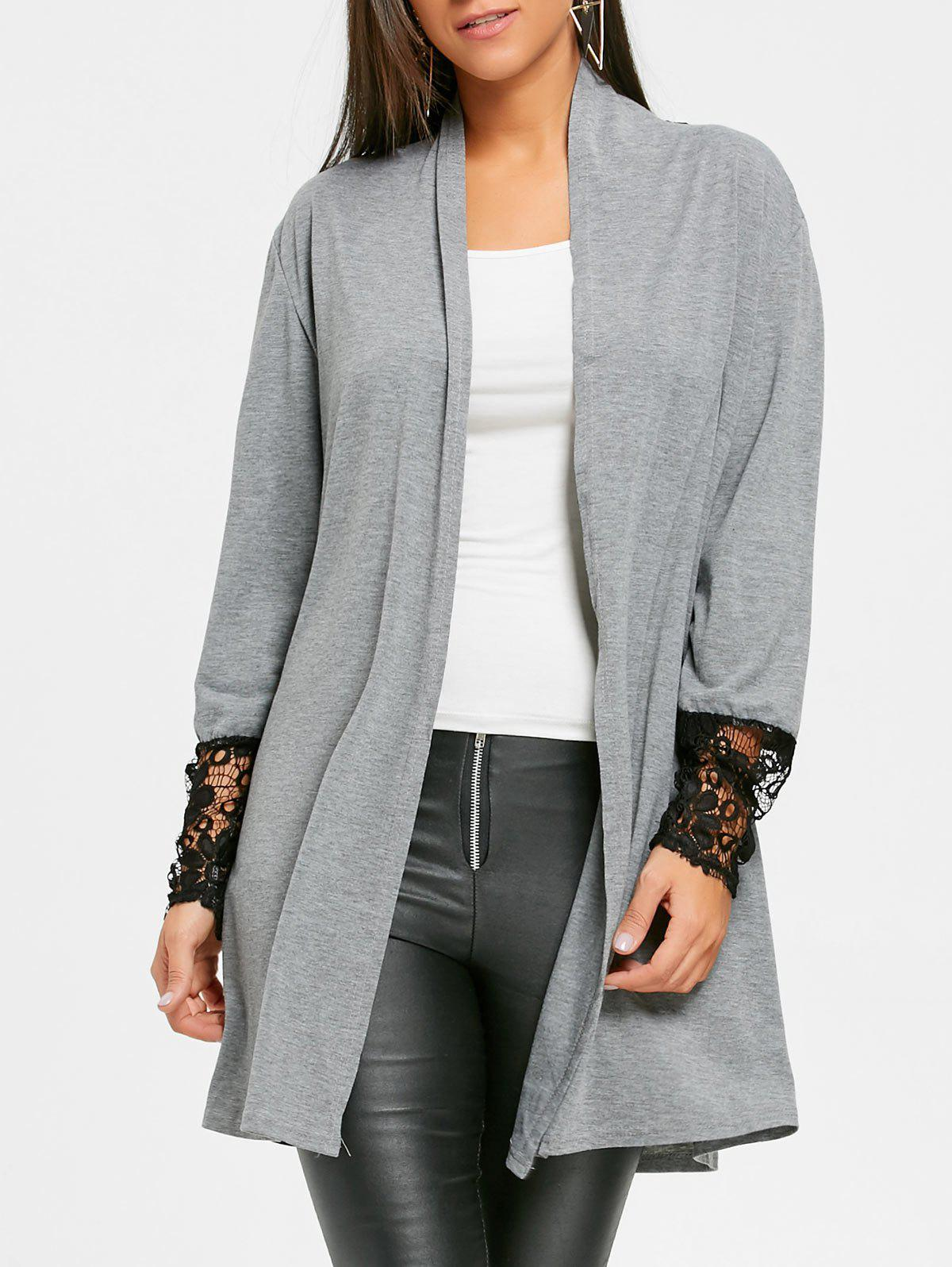 Fancy Open Front Lace Panel Tunic Cardigan