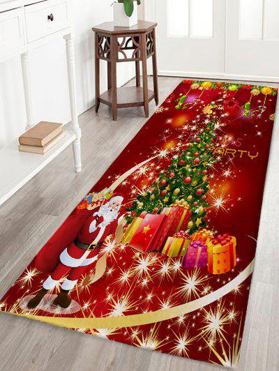 Sale Christmas Tree Gift Santa Claus Print Flannel Skidproof Bath Rug