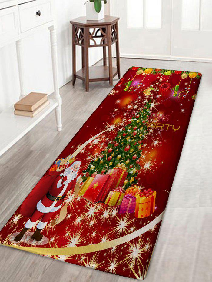 Christmas Tree Gift Santa Claus Print Flannel Skidproof Bath RugHOME<br><br>Size: W16 INCH * L47 INCH; Color: RED; Products Type: Bath rugs; Materials: Polyester; Pattern: Christmas Tree,Gift,Santa Claus; Style: Festival; Shape: Rectangular; Package Contents: 1 x Rug;