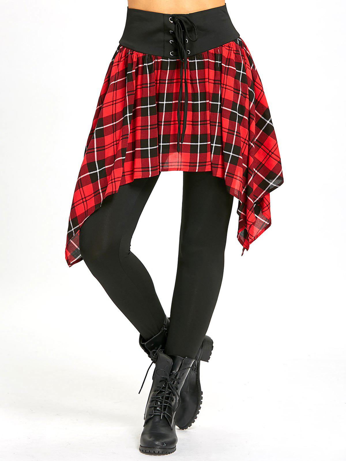 Discount Lace Up Asymmetric Plaid Skirted Leggings