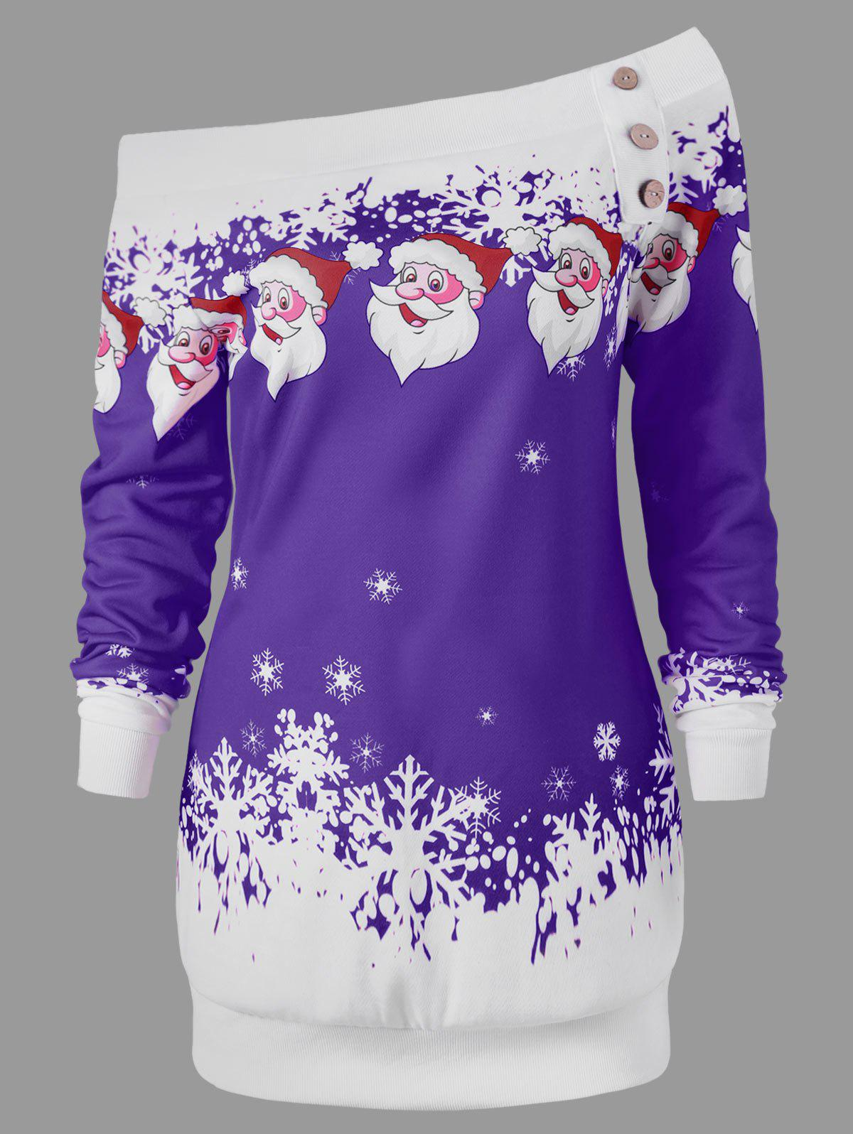 Pullover Santa Claus Snowflake Skew Neck Christmas SweatshirtWOMEN<br><br>Size: M; Color: PURPLE; Material: Polyester,Spandex; Shirt Length: Long; Sleeve Length: Full; Style: Casual; Pattern Style: Character; Embellishment: Button; Season: Fall,Spring,Winter; Weight: 0.3000kg; Package Contents: 1 x Sweatshirt;