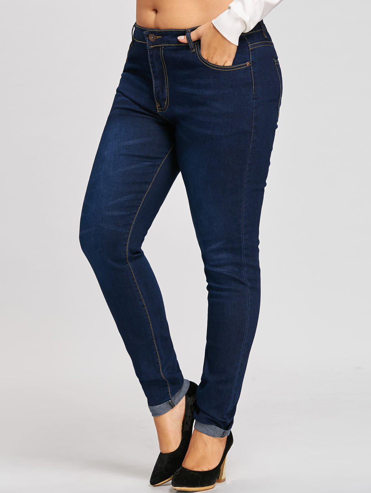 Plus Size Ninth Midi Waist Cuffed JeansWOMEN<br><br>Size: 3XL; Color: DENIM BLUE; Style: Fashion; Length: Ninth; Material: Jeans; Fabric Type: Denim; Fit Type: Skinny; Waist Type: Mid; Closure Type: Zipper Fly; Pattern Type: Solid; Embellishment: Pockets; Pant Style: Pencil Pants; Weight: 0.5900kg; Package Contents: 1 x Jeans;