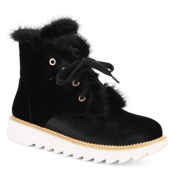 Outfit Faux Fur Lace Up Splicing Short Boots