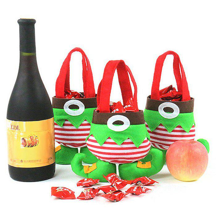 3 Pcs Christmas Elf Body Candy Tote Gift BagsHOME<br><br>Color: GREEN; Occasion: Chinese New Year,Christmas,New Year,Party; Material: Polyester; Weight: 0.1300kg; Package Contents: 3 x Gift Bags;