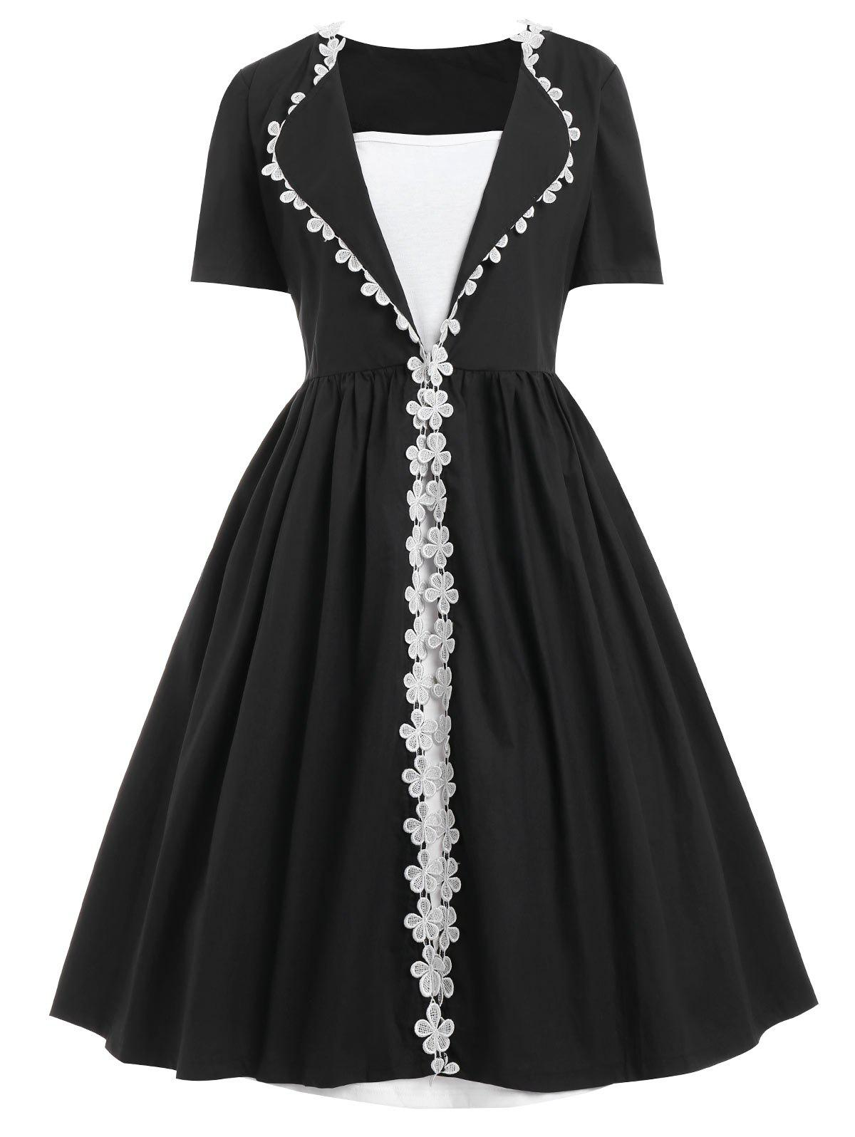 Plus Size Floral Lace Trim Vintage DressWOMEN<br><br>Size: 5XL; Color: BLACK; Style: Vintage; Material: Polyester; Silhouette: A-Line; Dresses Length: Knee-Length; Neckline: Square Collar; Sleeve Length: Short Sleeves; Embellishment: Lace; Pattern Type: Others; With Belt: No; Season: Fall,Winter; Weight: 0.5700kg; Package Contents: 1 x Dress;