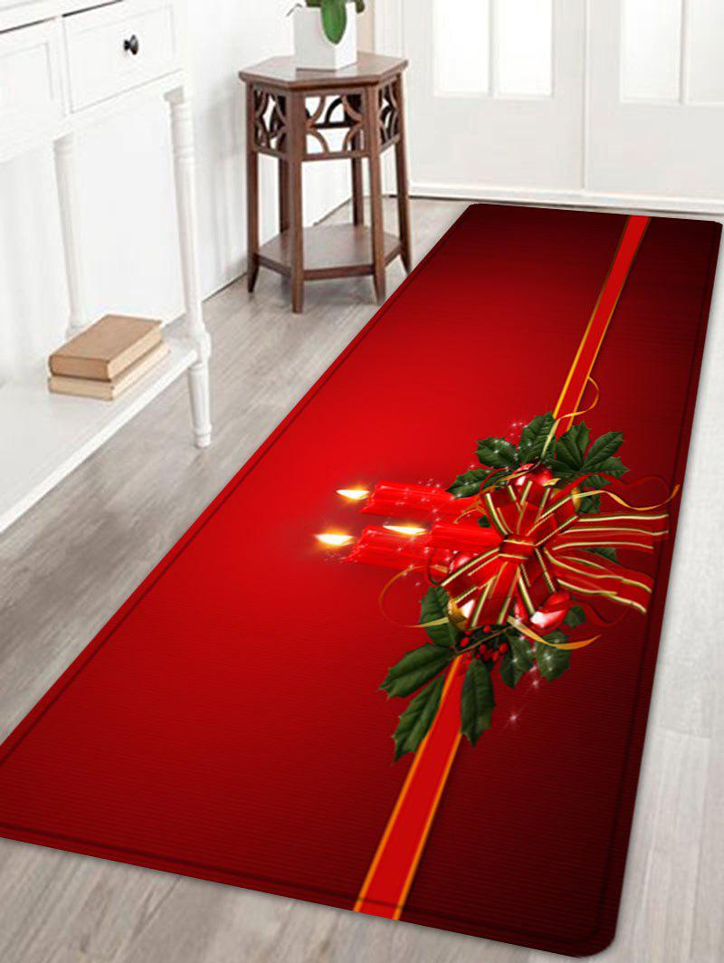 Christmas Bowknot Candle Pattern Anti-skid Water Absorption Area RugHOME<br><br>Size: W24 INCH * L71 INCH; Color: RED; Products Type: Bath rugs; Materials: Flannel; Pattern: Bowknot; Style: Festival; Shape: Rectangle; Package Contents: 1 x Rug;