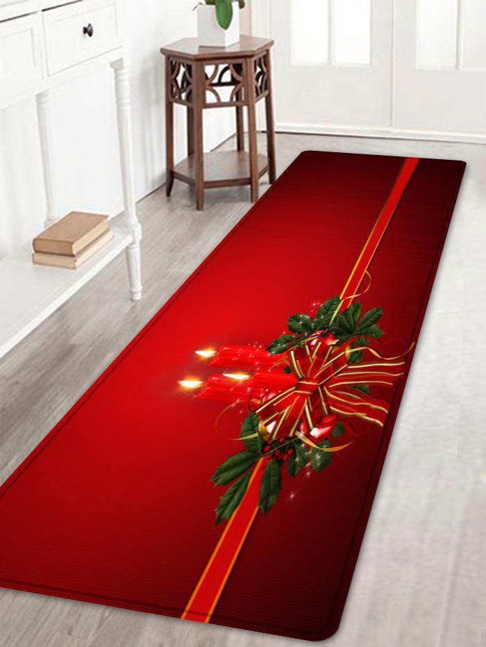 Christmas Bowknot Candle Pattern Anti-skid Water Absorption Area RugHOME<br><br>Size: W16 INCH * L47 INCH; Color: RED; Products Type: Bath rugs; Materials: Flannel; Pattern: Bowknot; Style: Festival; Shape: Rectangle; Package Contents: 1 x Rug;