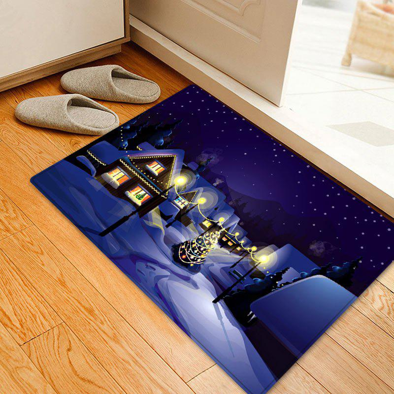 Christmas Village Night Pattern Anti-skid Water Absorption Area RugHOME<br><br>Size: W16 INCH * L24 INCH; Color: COLORMIX; Products Type: Bath rugs; Materials: Flannel; Pattern: Christmas Tree; Style: Festival; Shape: Rectangle; Package Contents: 1 x Rug;