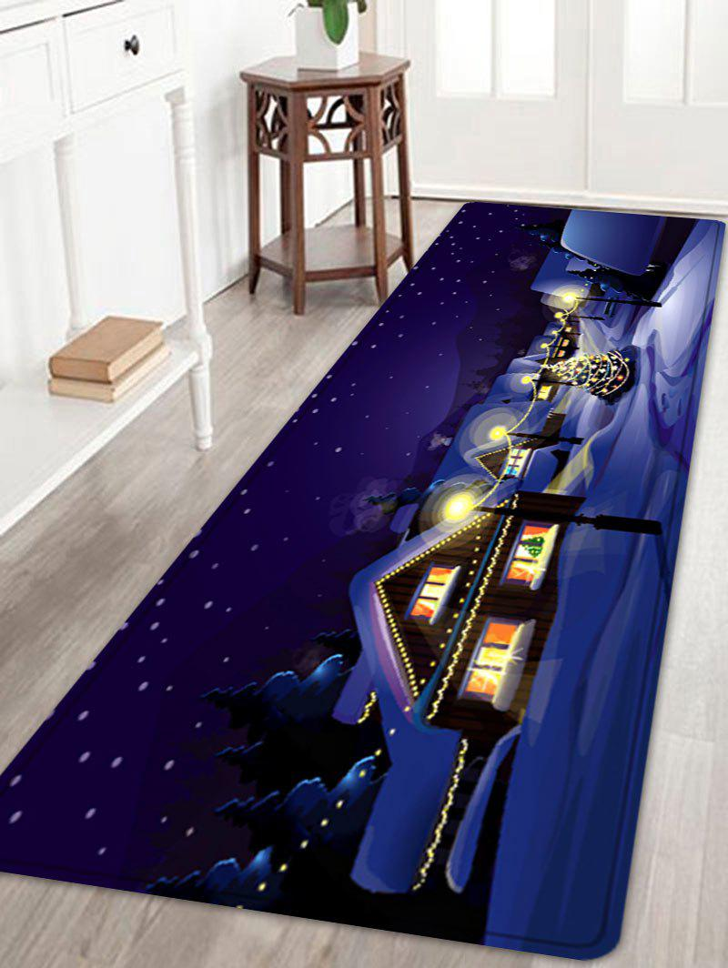 Christmas Village Night Pattern Anti-skid Water Absorption Area RugHOME<br><br>Size: W24 INCH * L71 INCH; Color: COLORMIX; Products Type: Bath rugs; Materials: Flannel; Pattern: Christmas Tree; Style: Festival; Shape: Rectangle; Package Contents: 1 x Rug;