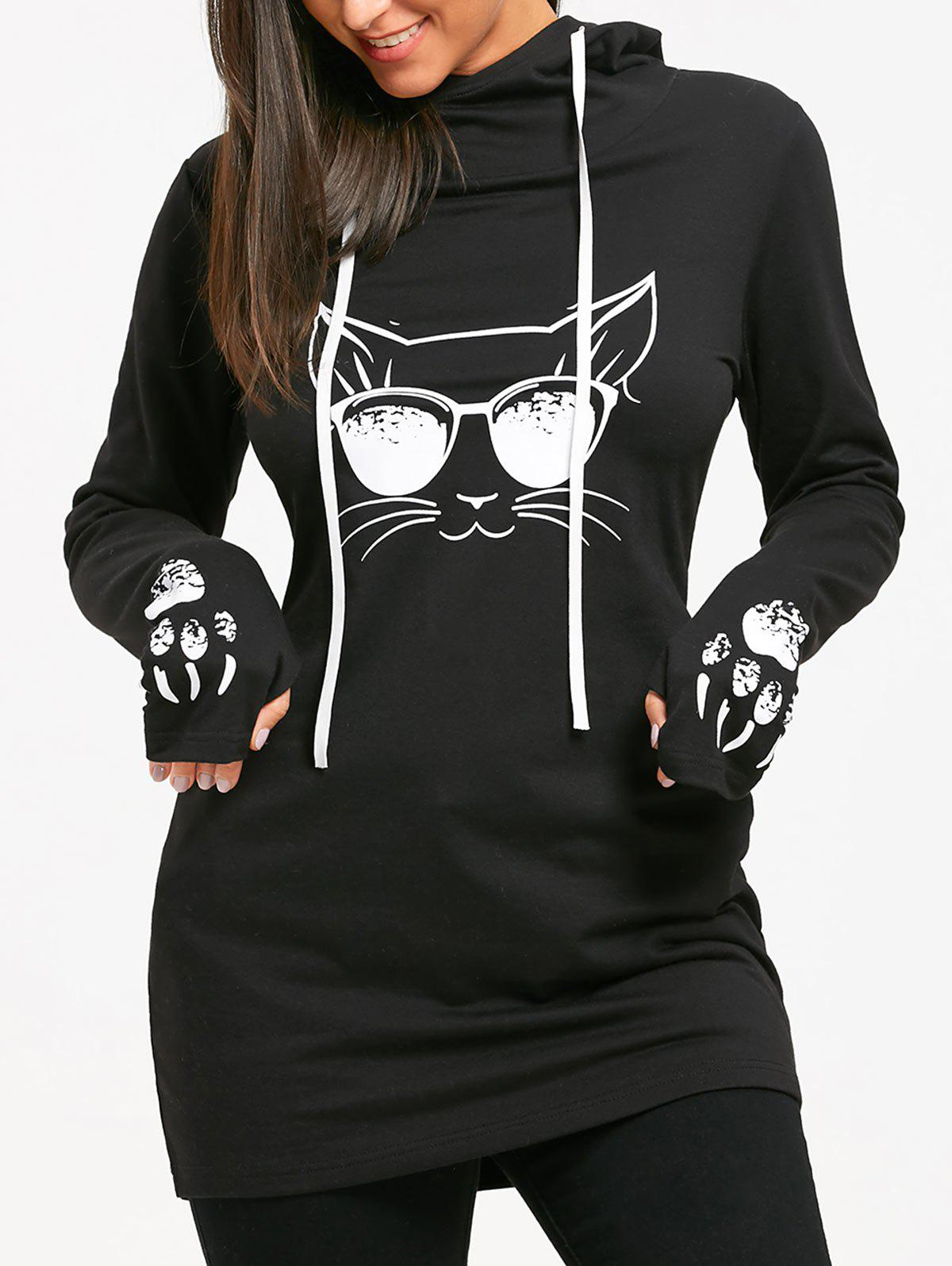 Cat Print Drawstring Tunic HoodieWOMEN<br><br>Size: L; Color: BLACK; Material: Polyester; Shirt Length: Long; Sleeve Length: Full; Style: Casual; Pattern Style: Print; Season: Fall,Spring; Weight: 0.5600kg; Package Contents: 1 x Hoodie;