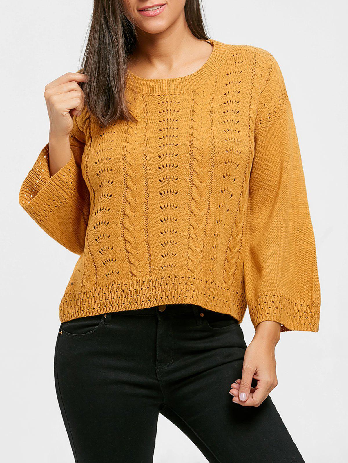 Shops Hollow Out Crew Neck Cable Knit Sweater