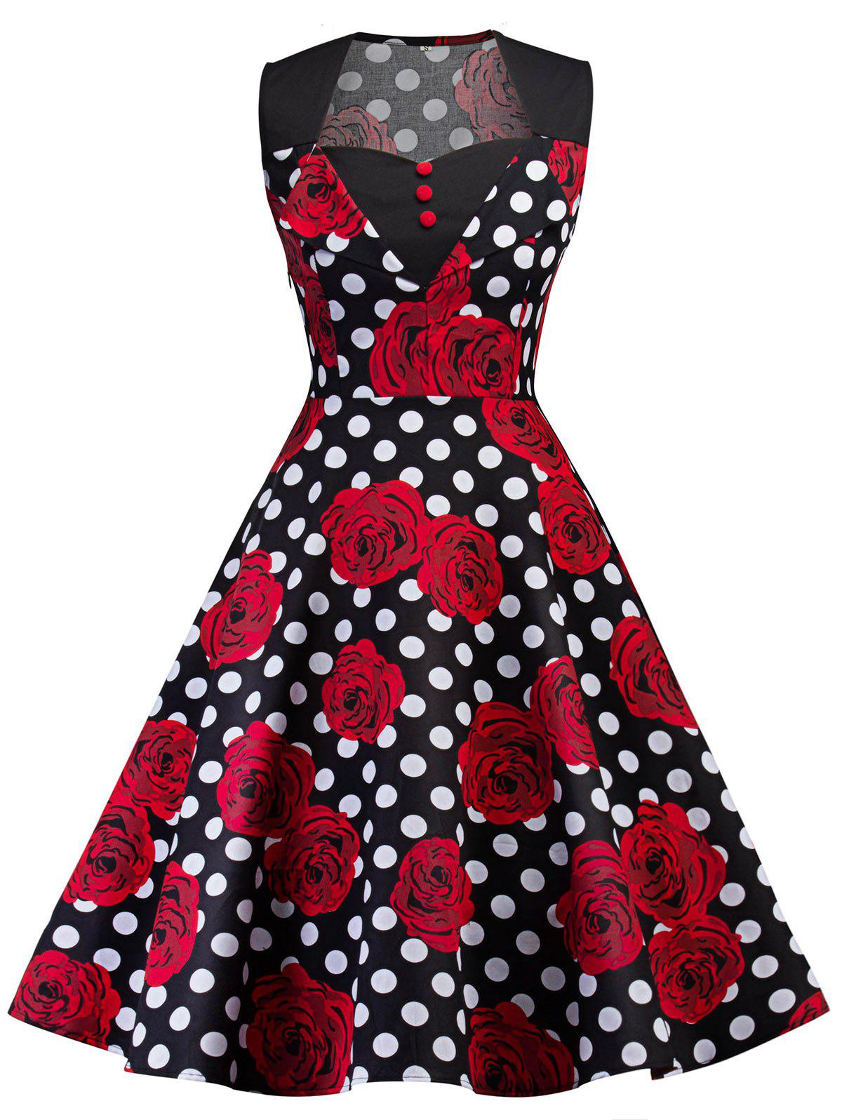 Vintage Polka Dot Floral Print Pin Up DressWOMEN<br><br>Size: 2XL; Color: BLACK; Style: Vintage; Material: Polyester,Spandex; Silhouette: A-Line; Dress Type: Cheongsam; Dresses Length: Mid-Calf; Neckline: Sweetheart Neck; Sleeve Length: Sleeveless; Pattern Type: Floral,Polka Dot; With Belt: No; Season: Fall,Spring; Weight: 0.3500kg; Package Contents: 1 x Dress;