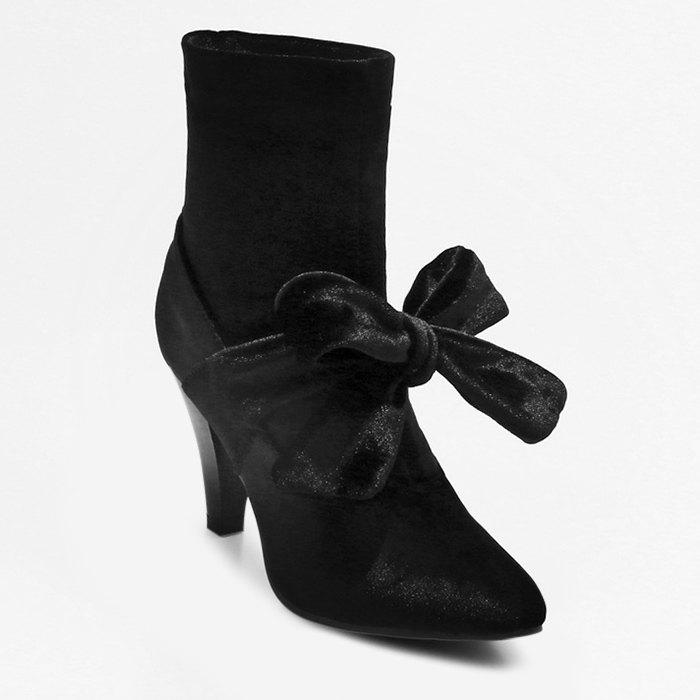 Sale Cone Heel Pointed Toe Bow Boots