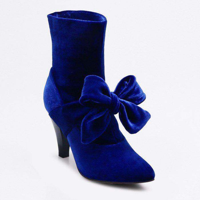 Shop Cone Heel Pointed Toe Bow Boots