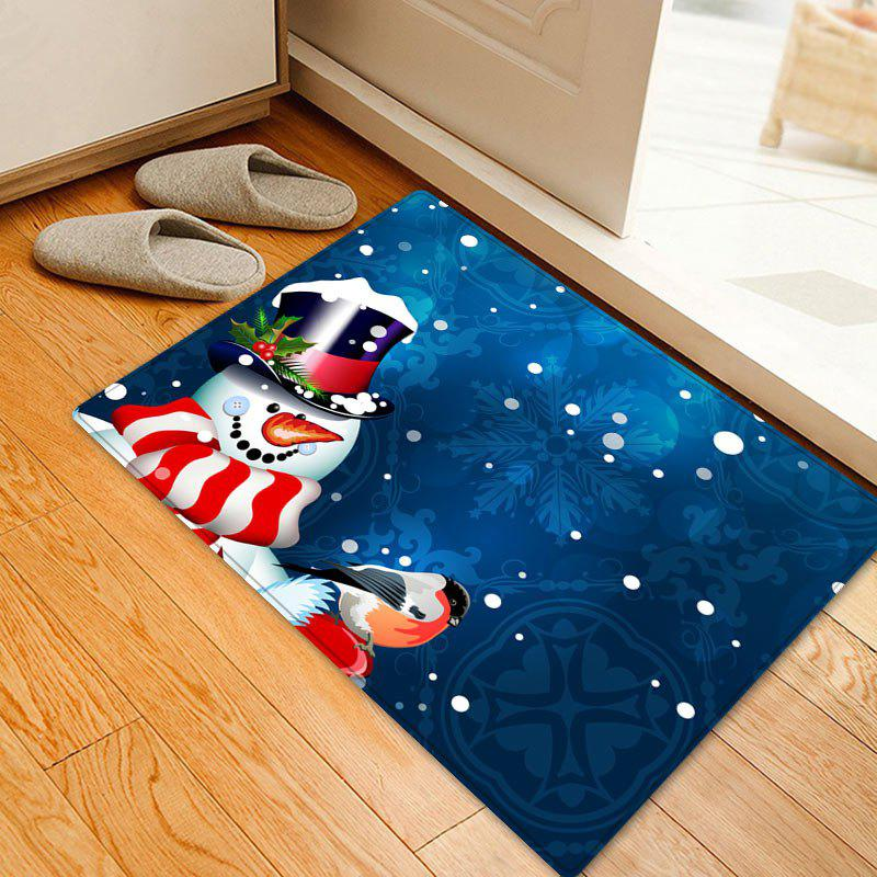 Christmas Snowman Birds Pattern Anti-skid Water Absorption Area RugHOME<br><br>Size: W16 INCH * L24 INCH; Color: BLUE; Products Type: Bath rugs; Materials: Flannel; Pattern: Animal,Snowman; Style: Festival; Shape: Rectangle; Package Contents: 1 x Rug;