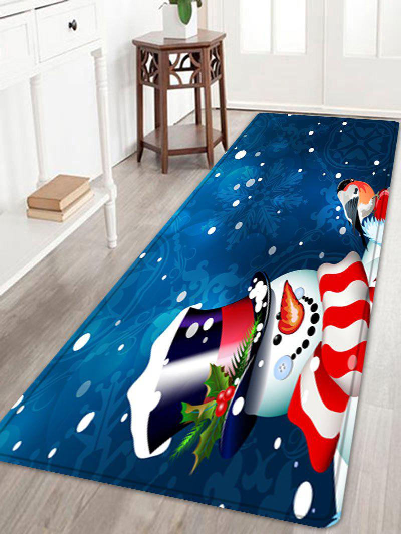 Christmas Snowman Birds Pattern Anti-skid Water Absorption Area RugHOME<br><br>Size: W24 INCH * L71 INCH; Color: BLUE; Products Type: Bath rugs; Materials: Flannel; Pattern: Animal,Snowman; Style: Festival; Shape: Rectangle; Package Contents: 1 x Rug;
