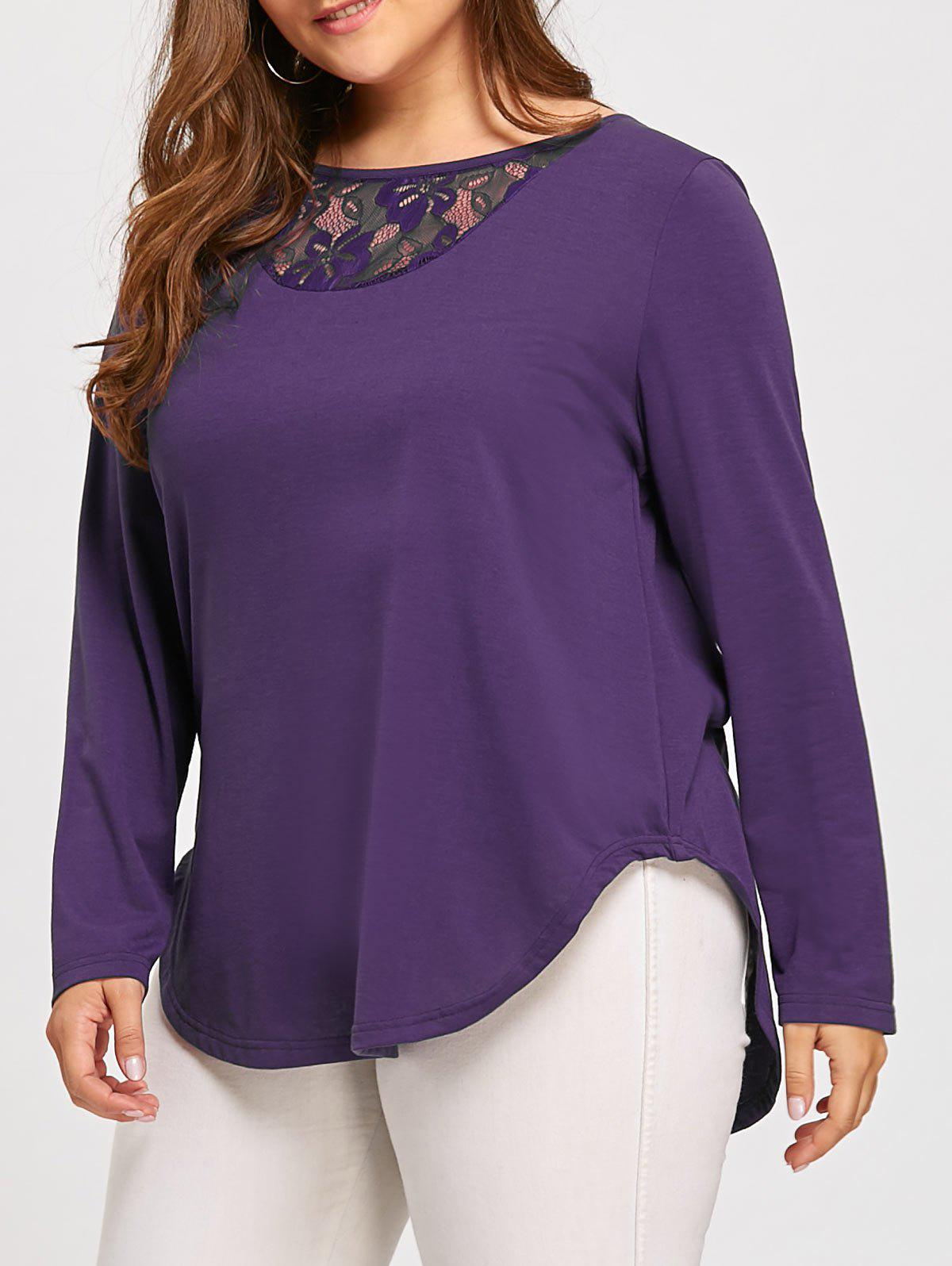 Plus Size Button Lace Insert Long Sleeve T-shirtWOMEN<br><br>Size: 4XL; Color: PURPLE; Material: Cotton Blends,Polyester; Shirt Length: Long; Sleeve Length: Full; Collar: Scoop Neck; Style: Fashion; Season: Fall,Winter; Embellishment: Button,Hollow Out,Lace; Pattern Type: Solid; Weight: 0.3100kg; Package Contents: 1 x Tee;