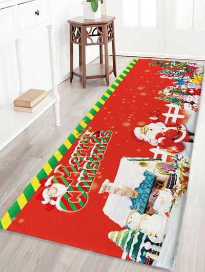 Flannel Skidproof Merry Christmas Graphic Bath RugHOME<br><br>Size: W24 INCH * L71 INCH; Color: RED; Products Type: Bath rugs; Materials: Flannel; Style: Festival; Shape: Rectangular; Package Contents: 1 x Rug;