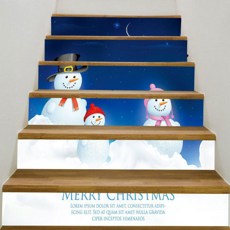 Starry Moon Night Snowman Family Patterned Stair StickersHOME<br><br>Size: 100*18CM*6PCS; Color: BLUE AND WHITE; Wall Sticker Type: 3D Wall Stickers; Functions: Stair Stickers; Theme: Christmas; Pattern Type: Moon,Snowman,Star; Material: PVC; Feature: Removable; Weight: 0.3100kg; Package Contents: 6 x Stair Stickers (Pcs);
