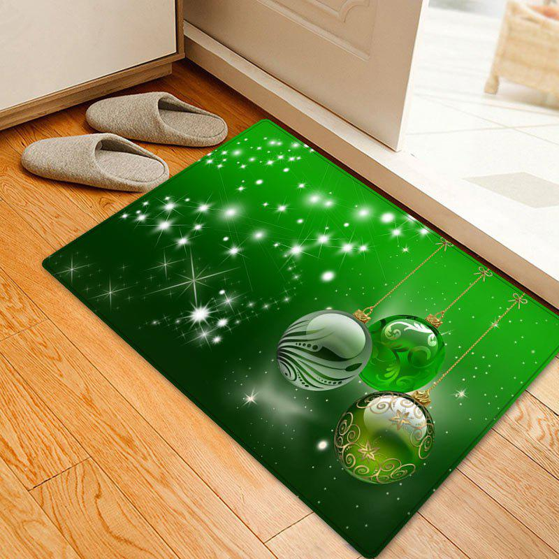 Christmas Balls Pattern Anti-skid Water Absorbing Area RugHOME<br><br>Size: W16 INCH * L24 INCH; Color: GREEN; Products Type: Bath rugs; Materials: Flannel; Pattern: Ball; Style: Festival; Shape: Rectangle; Package Contents: 1 x Rug;