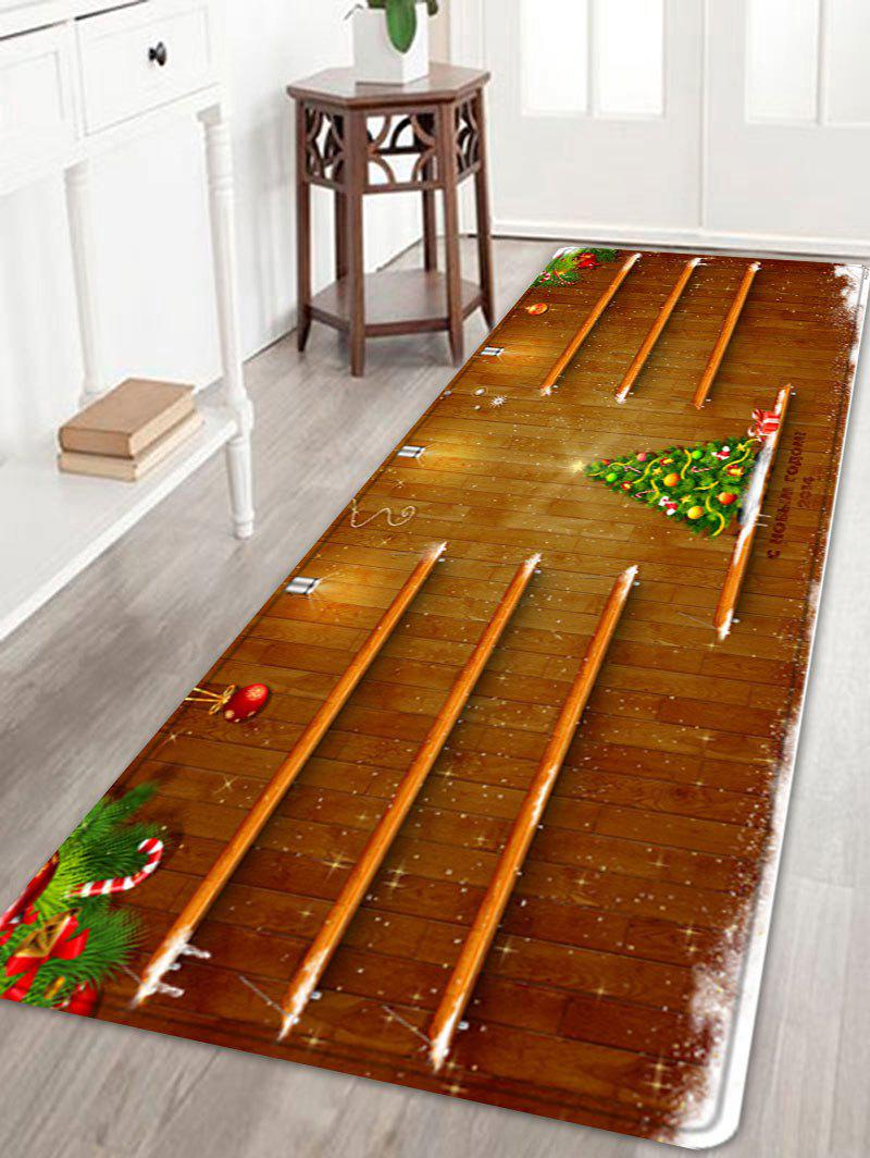 Christmas Tree Woodgrain Pattern Anti-skid Water Absorbing Area RugHOME<br><br>Size: W24 INCH * L71 INCH; Color: BROWN; Products Type: Bath rugs; Materials: Flannel; Pattern: Christmas Tree; Style: Festival; Shape: Rectangle; Package Contents: 1 x Rug;