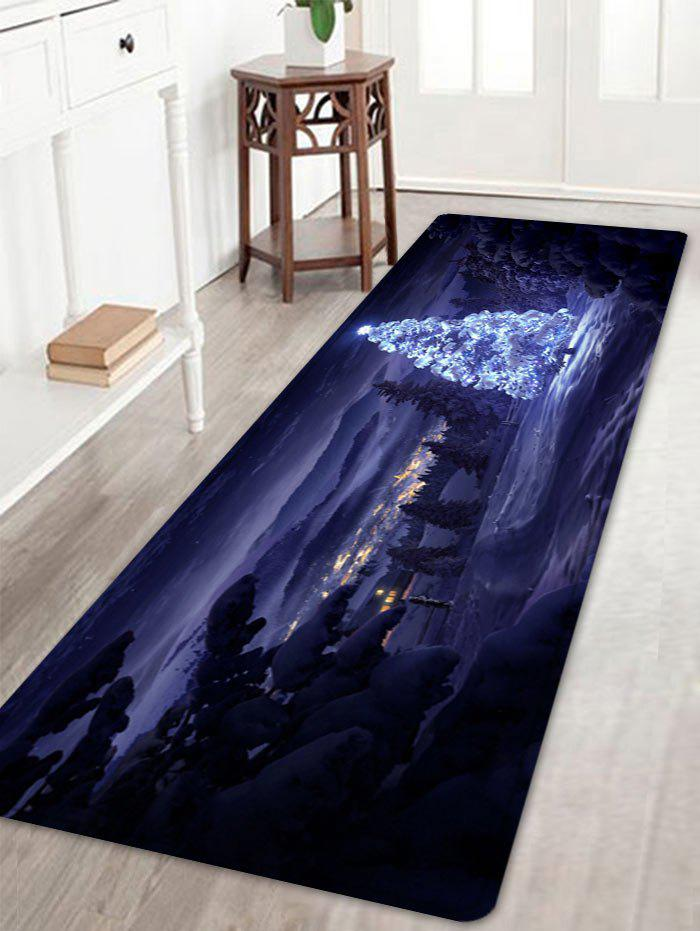Christmas Night Pine Pattern Anti-skid Water Absorption Area RugHOME<br><br>Size: W16 INCH * L47 INCH; Color: COLORMIX; Products Type: Bath rugs; Materials: Flannel; Pattern: Forest; Style: Festival; Shape: Rectangle; Package Contents: 1 x Rug;
