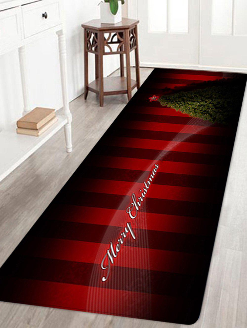 Christmas Tree Striped Pattern Anti-skid Water Absorption Area RugHOME<br><br>Size: W24 INCH * L71 INCH; Color: DEEP RED; Products Type: Bath rugs; Materials: Flannel; Pattern: Christmas Tree; Style: Festival; Shape: Rectangle; Package Contents: 1 x Rug;
