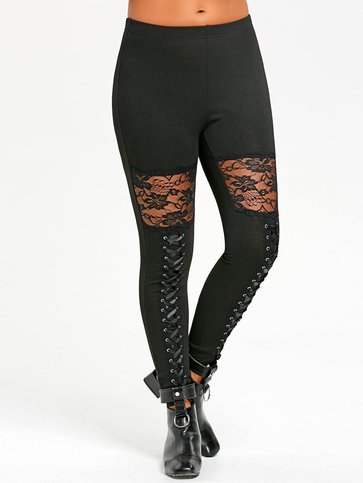 Criss Cross Lace Insert LeggingsWOMEN<br><br>Size: 2XL; Color: BLACK; Style: Fashion; Material: Polyester,Spandex; Waist Type: Mid; Pattern Type: Solid; Weight: 0.2420kg; Package Contents: 1 x Leggings;