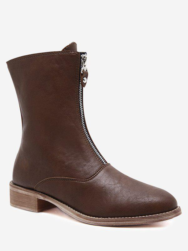 Store Front Zip PU Leather Cork Heel Boots