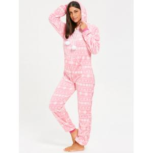 Hooded Zip Fleece Jumpsuit Sleepwear -