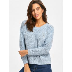 Crew Neck Drop Shoulder  Hollow Out Sweater -