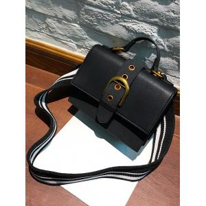 Buckle Strap Stitching PU Leather Crossbody Bag -