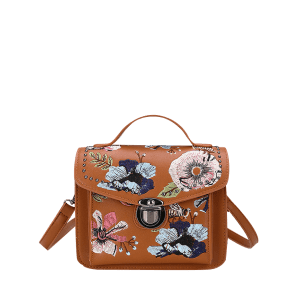 Studs Fleurs Embroidery Crossbody Bag -