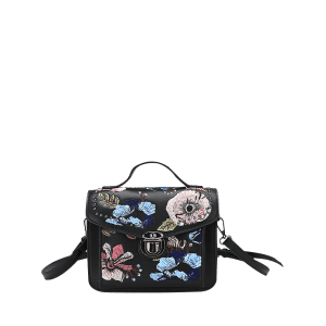 Studs Flowers Embroidery Crossbody Bag -