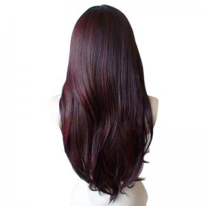 Long Inclined Bang Colormix Straight Synthetic Wig -