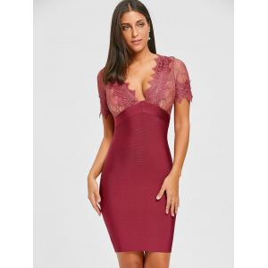 Plunging Neck Lace Insert Bandage Dress -