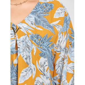Leaf Print Plus Size V-neck High Low Blouse -