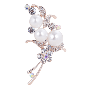 Vintage Faux Pearl and Rhinestone Embellished Brooch -