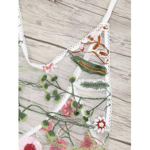 Mesh Sheer Floral Embroidered  Teddy -