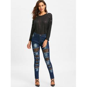 Ripped Lace Insert Denim Jeans -