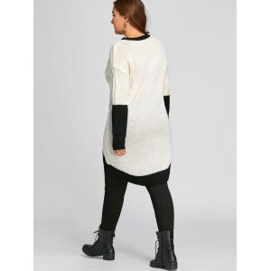 Plus Size Color Block  High Low Chunky Knit Sweater -