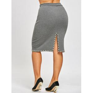 Faux Pearl Plus Size Pencil Skirt -