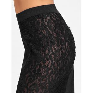 High Waist Slim Fit Lace Trim Skirt -