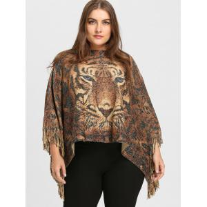 Tiger Printed Glitter Fringed Plus Size Poncho Sweater -