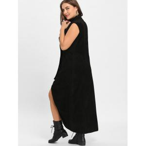Plus Size Double Breast High Low Long Trench Coat -