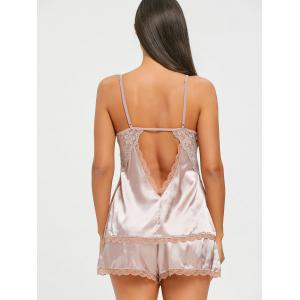 Backless Lace Insert Slip PJ Set -