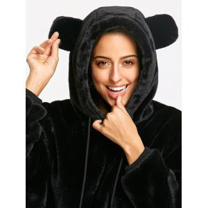 Velvet Cartoon Bear Ear Drawstring Hoodie -