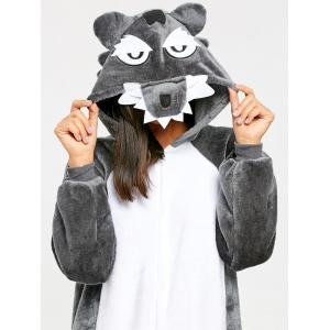 Onesie Wolf Fleece Jumpsuit Sleepwear -