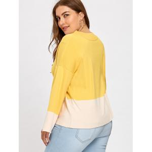 Color Block Plus Size Mock Neck Sweater -