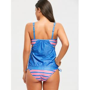 Cami Strap Striped Panel Blouson Tankini Set -
